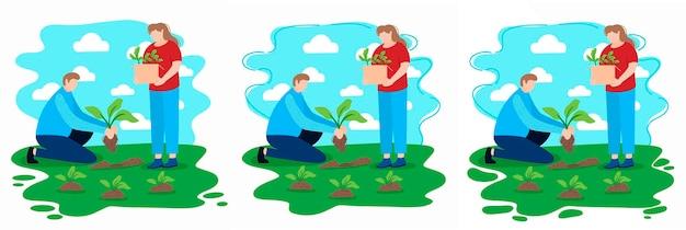 Охрана окружающей среды волонтеры сажают растения в городском парке или на заднем дворе