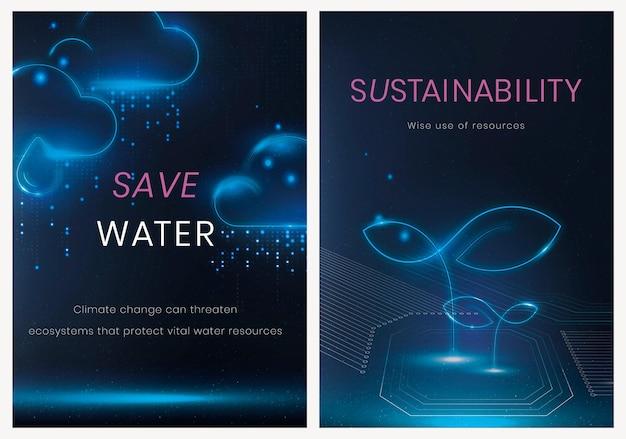 Набор векторных шаблонов плакатов экологических технологий