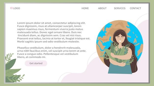 Шаблон дизайна экологического веб-баннера с девушкой на фоне планеты земля