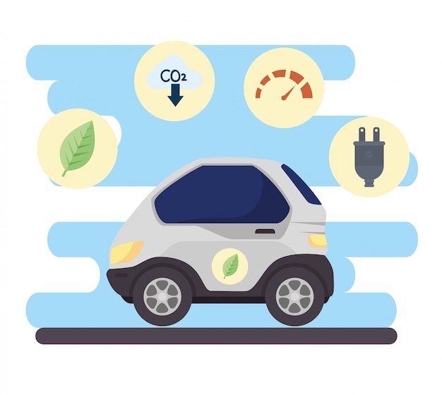 Environmentally friendly concept, electric car, with benefit icons of car eco friendly vector illustration design