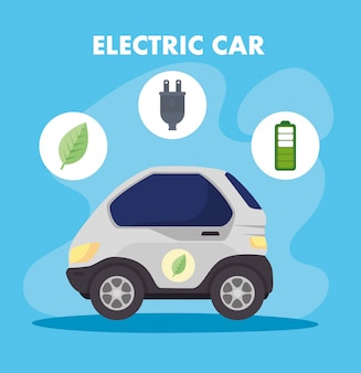 Environmentally friendly concept, electric car with leaf, plug ,battery charger vector illustration design