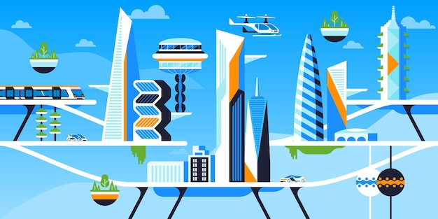 Environmentally safe city flat vector illustration. future metropolis, cityscape with futuristic architecture and transportation. skyscrapers and eco friendly vehicles. passenger drones, electric cars