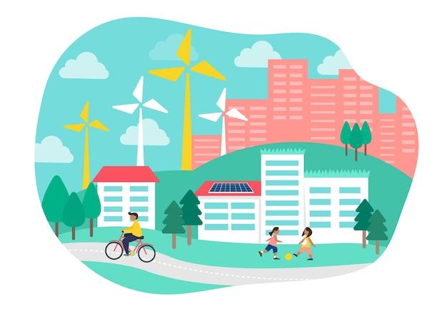 Экологически устойчивая жилая плоская иллюстрация
