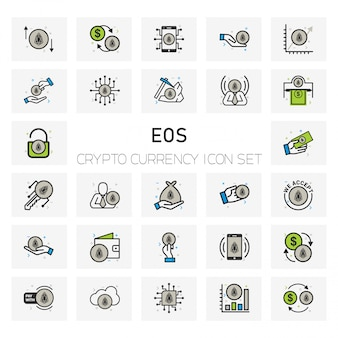 Eos crypto currency icons set