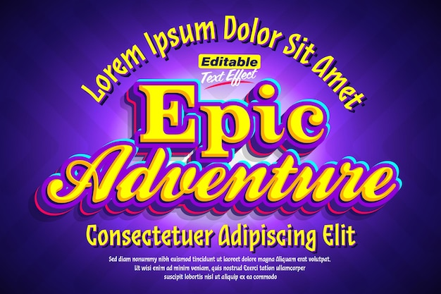 Epic adventure cartoon pop 3d text effect