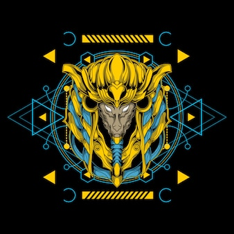 Epic anubis head illustration with sacred geometry