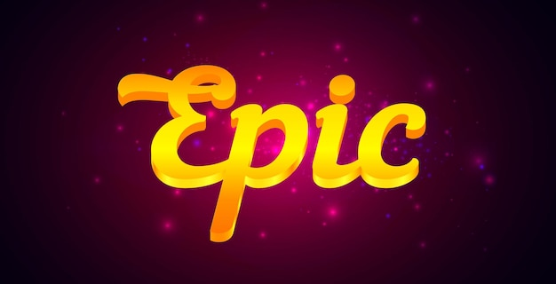 Epic lettering with golden text on dark purple background vector