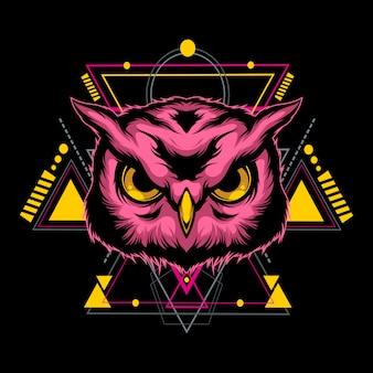 神聖な幾何学を持つ壮大なフクロウ