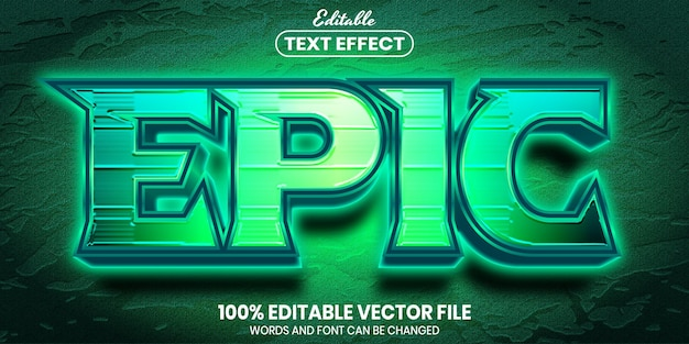 Epic text, font style editable text effect