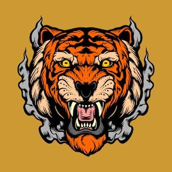 壮大な虎の頭
