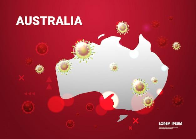 Epidemic  flu spreading of world floating influenza virus cells wuhan coronavirus  pandemic medical health risk australia map  horizontal