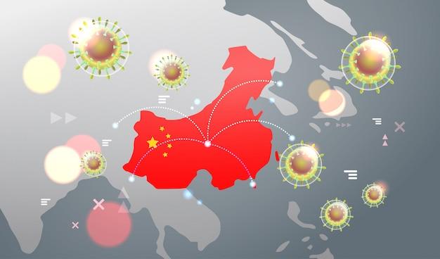 Epidemic  flu spreading of world floating influenza virus cells wuhan coronavirus  pandemic medical health risk chinese map  horizontal