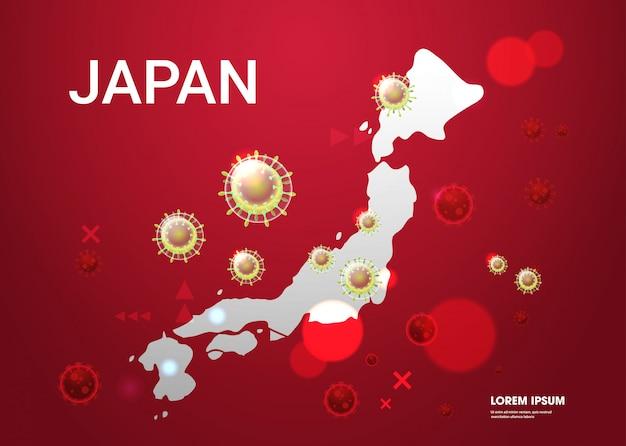 Epidemic  flu spreading of world floating influenza virus cells wuhan coronavirus  pandemic medical health risk japan map  horizontal