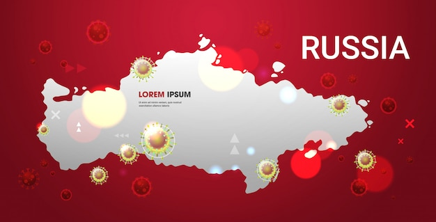 Epidemic  flu spreading of world floating influenza virus cells wuhan coronavirus  pandemic medical health risk russia map  horizontal