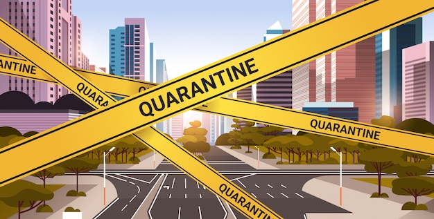 Epidemic mers-cov quarantine caution on yellow warning tape over empty city street coronavirus infection wuhan 2019-ncov pandemic health risk concept cityscape background horizontal
