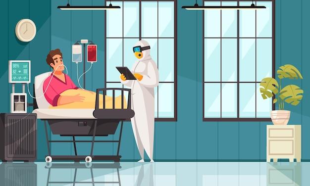 보호복을 입은 의사와 산소에 연결된 환자와 코로나바이러스의 전염병