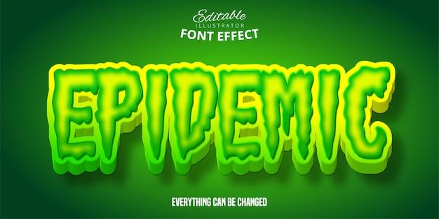 Эпидемический эффект текста, зеленый редактируемый стиль шрифта