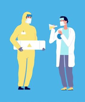 Эпидемиолог и ученый. вирусные исследования, химические лабораторные персонажи. человек в защитном костюме и врач в белом халате