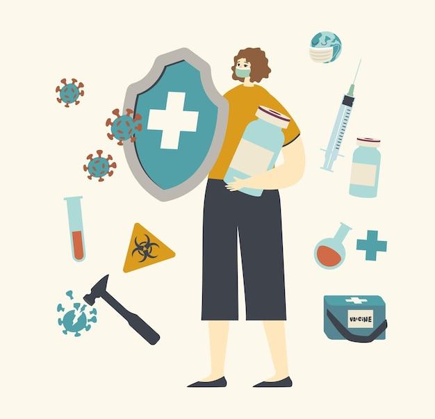 疫学と予防接種のイラスト