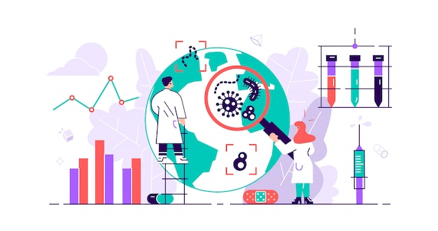 Epidemiology. health danger risk spread laboratory. tiny bacteria pandemic outbreak research.sanitary condition prevention and virus microscopic bacteria infection protection. flat  illustration