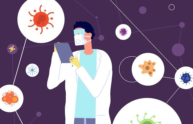 Эпидемиология. защитный костюм вирусолога изучает вирусы и коронавирусы. ученый-медик, лаборатория и разработка вакцины