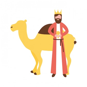 贈り物とラクダを持つ賢明な王