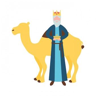 Крепкий мудрый царь с подарком и верблюдом