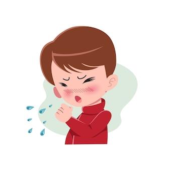 Мальчики или люди, страдающие от различных симптомов простуды и гриппа. персонаж с кашлем. концепция болезни. изолированные. иллюстрация в плоском мультяшном стиле. здоровье и медицина. eps 10