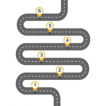Извилистая асфальтовая дорога. шаблон схемы из шести шагов. вектор eps 10