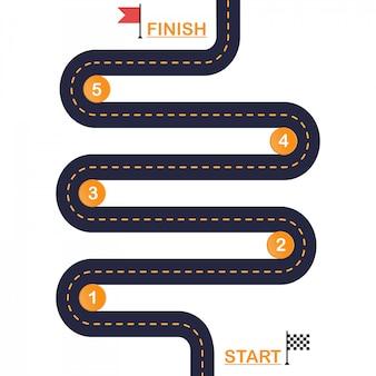 Извилистая дорога шаблон схемы шагов. вектор eps 10