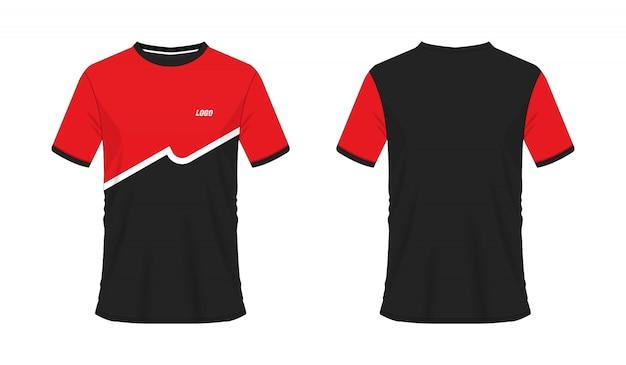 Футболка красный и черный футбол или футбол шаблон для команды клуба на белом фоне. спорт джерси, иллюстрация eps 10 вектора.