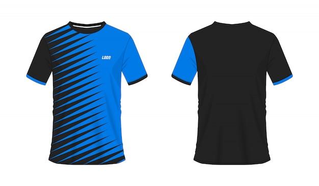 Футболка синий и черный футбол или футбол шаблон для команды клуба на белом фоне. спорт джерси, иллюстрация eps 10 вектора.