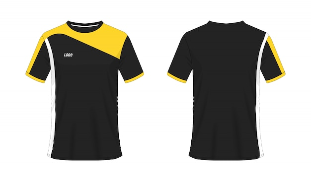 Футболка желтый и черный футбол или футбол шаблон для команды клуба на белом фоне. векторная иллюстрация eps 10.