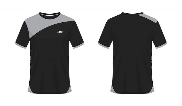 Футболка серый и черный футбол или футбол шаблон для команды клуба на белом фоне. спорт джерси, иллюстрация eps 10 вектора.