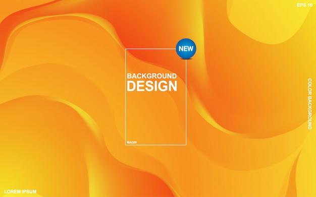 オレンジ色のサンサイトの色と抽象的な背景液体テーマ。モダンな最小限のeps 10