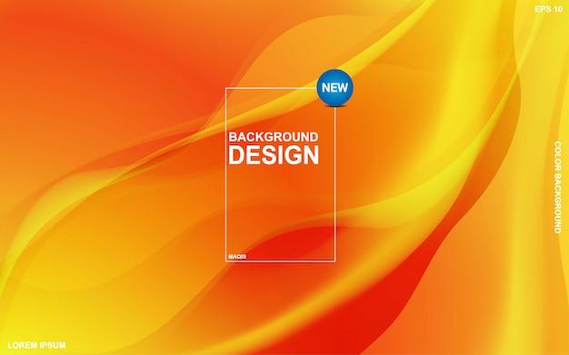 Абстрактный фон жидкая тема с оранжевым солнечным цветом. современный минимальный eps 10