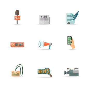 Социальные медиа мобильный пресс-центр символы репортер эмблем дизайн пиктограмм коллекция изолированных набор иконок плоский. редактируемые eps и визуализации в формате jpg