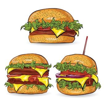 オレンジ色の背景eps10のハンバーガーとベクトルイラストバナー