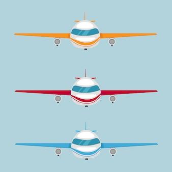 さまざまな色やデザインの飛行機のセット。飛行機。ベクトルイラストeps10