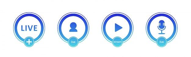 ライブストリーミングアイコンのセットです。ライブストリーミング、放送、オンラインウェビナーのグラデーション記号とボタン。テレビ、番組、映画、ライブパフォーマンスのラベル。ベクトルフラットイラスト。 eps10。