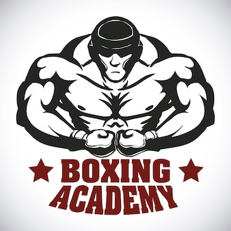 ボクシングラベルデザインベクトルイラストeps10グラフィック