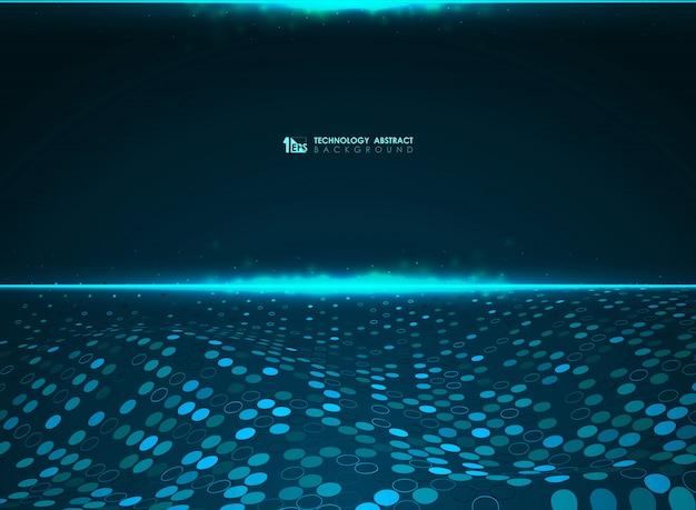 パワービッグデータシステムの抽象的なテクノロジー青い未来的なサークルパターン背景。イラストベクトルeps10