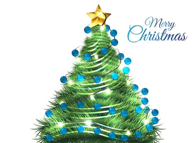Рождественский фон с деревом синий вектор мяч eps10