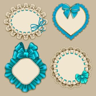 デザイン豪華な招待状、ギフト、グリーティングカード、レース飾りのはがき、フリル、青い弓、リボン、テキストのための場所のためのエレガントなテンプレートの華やかなフレームのセット。図eps10