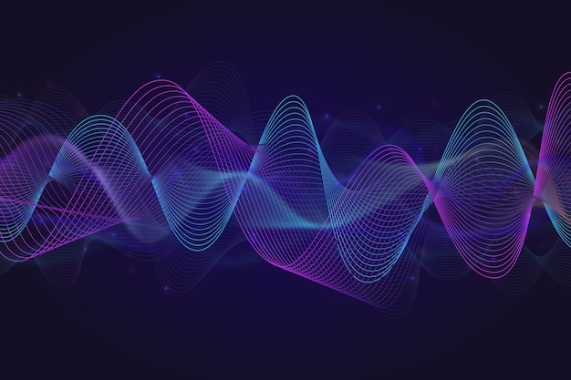 光沢のある粒子とeqイコライザー波背景