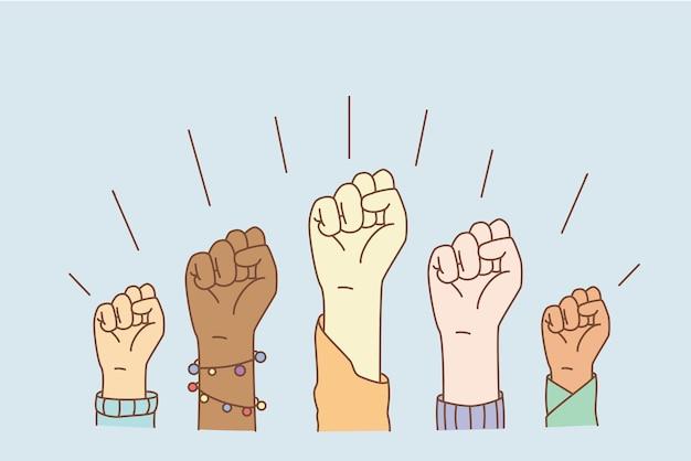 Равные права и концепция прекращения расизма. руки группы людей смешанной расы, показывающие кулаки, означающие равенство и прекращение дискриминации, векторная иллюстрация