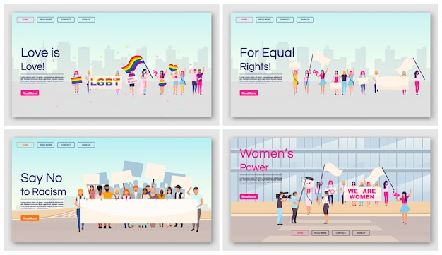 Equal rights protests landing page  templates set. social movements against racial and gender inequality website interface with  illustrations. homepage layout, web , webpage concept