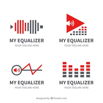 Equalizer logo collection with flat design