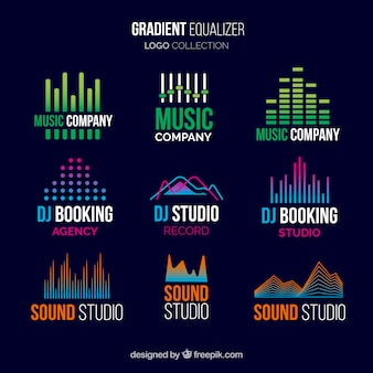 Equalizer logo collection with gradient style