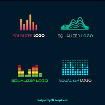 Equalizer logos collection in flat style